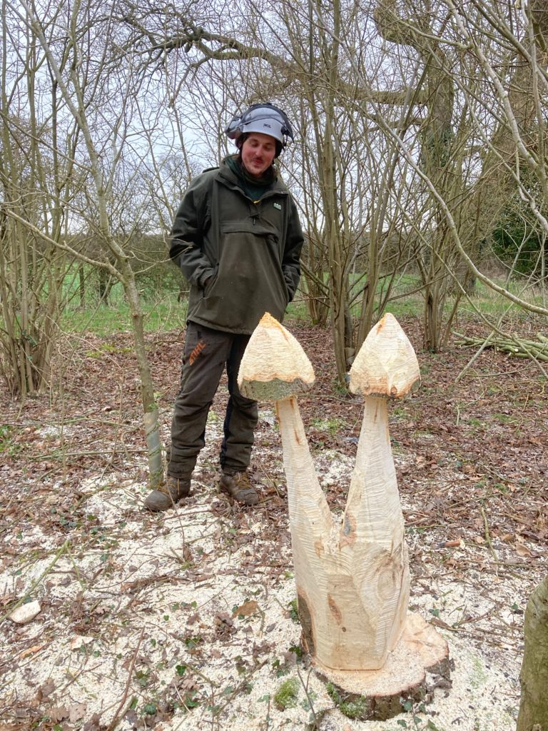 Woodland worker standing behind his chainsaw sculpture of fungi.