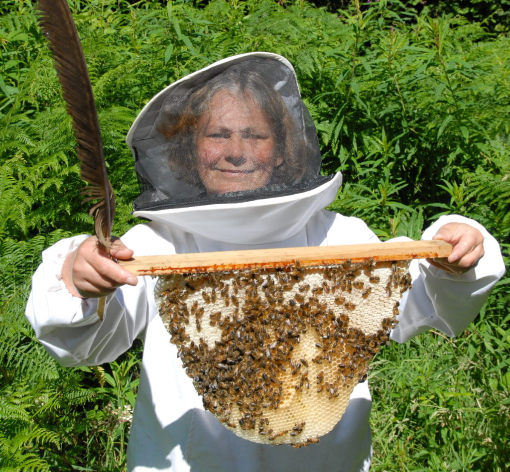 Beekeeper holding frame of honeycomb